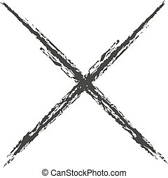 Black icon cross drawn with charcoal. Vector illustration -...