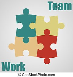 Four pieces of the puzzle. Teamwork. Vector illustration