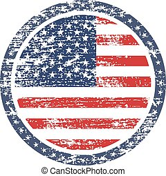 United States of America grunge flag on button stamp -...