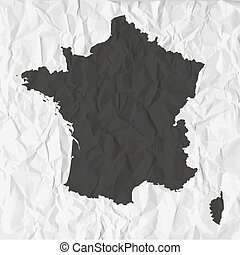 France map in black on a background crumpled paper - France...