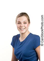 Headshot portrait of teenage girl in blue blouse - Friendly...