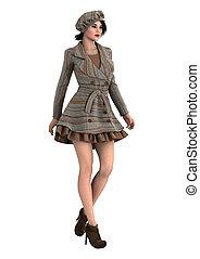 3D Rendering Female Model on White - 3D rendering of a...