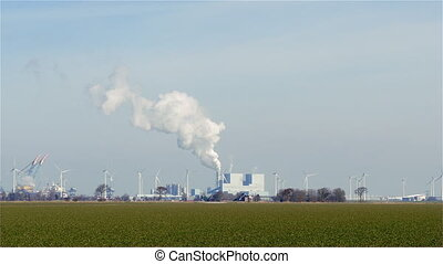Windmill turbines and coal energy plant