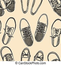 seamless pattern of shoes - sneakers. - Hand drawn sketch...