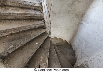 turned old stairs in a castle