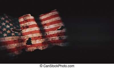 Grunge usa flag on a black background