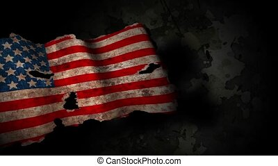 Grunge usa flag on a military background