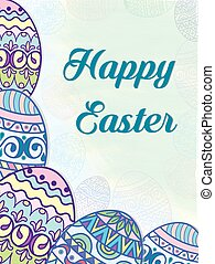 Postcard on the groin painted eggs pattern by hand