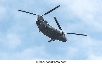 Double rotor, heavy airlift, military helicopter in flight...