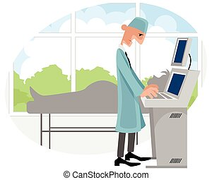 Doctor with ultrasonography apparatus - Vector illustration...