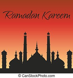 Ramadan Kareem greeting card. Silhouette of mosque