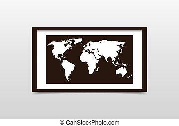 World map on a black frame. Vector illustration
