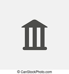 Bank icon in a flat design in black color. Vector...