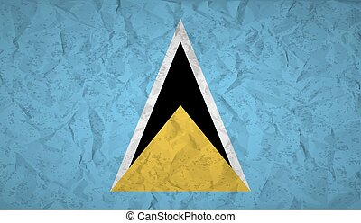 Saint Lucia flag with the effect of crumpled paper and...