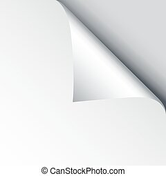 Blank sheet of paper with page curl and shadow, design element for advertising and promotional message isolated on white background. EPS 10 vector illustration.