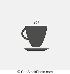 Mug with coffee icon in a flat design in black color. Vector illustration eps10