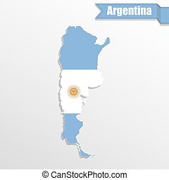 Argentina map with flag inside and ribbon
