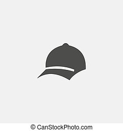Baseball cap icon in a flat design in black color. Vector...