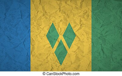Saint Vincent flag with the effect of crumpled paper and...