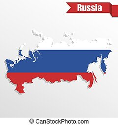 Russia map with flag inside and ribbon