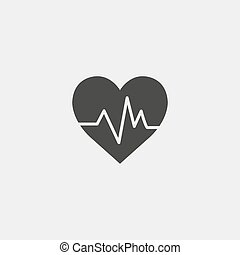heartbeat icon in a flat design in black color. Vector...
