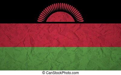 Malawi flag with the effect of crumpled paper and grunge