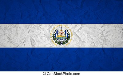 Flag of El Salvador with the effect crumpled paper and...