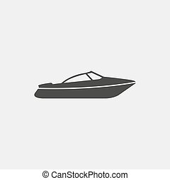 Motor Speed Boat icon in a flat design in black color....