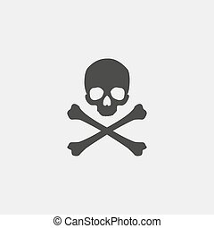 Skull and crossbones icon in a flat design in black color. Vector illustration eps10