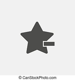 Star with minus icon in a flat design in black color. Vector...