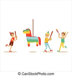 Kids Playing With Horse Shaped Pinata, Kids Birthday Party...