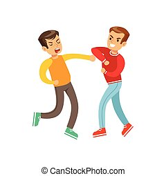Two Equally Strong Boys Fist Fight Positions, Aggressive...