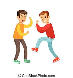 Two Screaming Boys Fist Fight Positions, Aggressive Bully In...