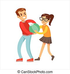 Boy And Girl Fist Fight Positions, Aggressive Bully In Long...