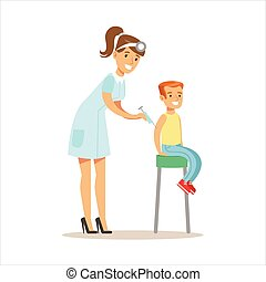 Boy Getting Vaccinated On Medical Check-Up With Female...