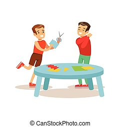 Boys Making Applique, Creative Child Practicing Arts In Art Class, Kids And Creativity Themed Illustration