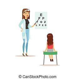 Girl On Medical Eyesight Check-Up With Female Pediatrician...