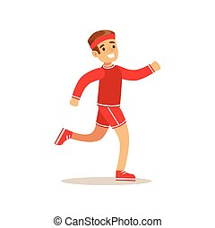 Boy Running, Kid Practicing Different Sports And Physical...