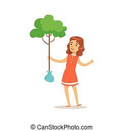Girl Planting A Tree Helping In Eco-Friendly Gardening Outdoors Part Of Kids And Nature Series