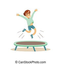 Boy Jumping On Trampoline, Kid Practicing Different Sports...
