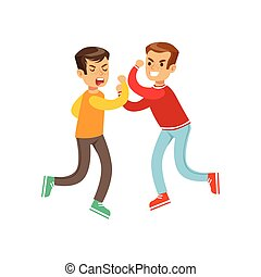 Two Equal Size Boys Fist Fight Positions, Aggressive Bully...