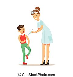 Kid On Medical Check-Up With Female Pediatrician Doctor...