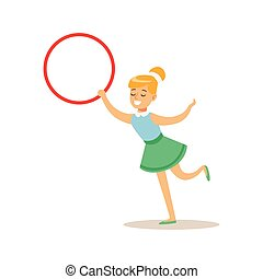 Girl With Hula-Hoop, Creative Child Practicing Arts In Art...