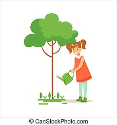 Girl Watering Tree Helping In Eco-Friendly Gardening Outdoors Part Of Kids And Nature Series