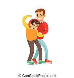 Two Boys Fist Fight Positions, Aggressive Bully In Long...
