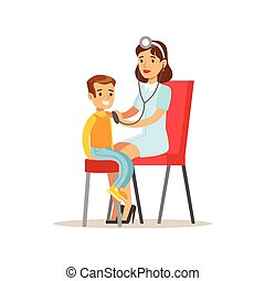 Kid On Medical Check-Up With Female Pediatrician Doctor Doing Physical Sthetoscope Examination For The Pre-School Health Inspection
