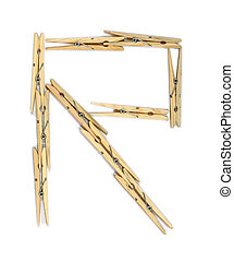 Clothespin letter R - Letter R made of wooden clothespins...