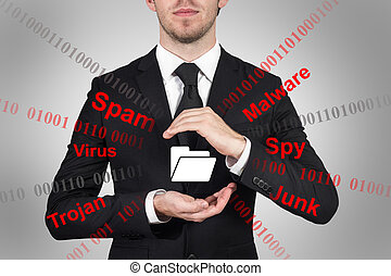 businessman protecting file folder symbol spam malware -...