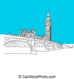Westminster and Big Ben, hand-drawn vector drawing, blue...