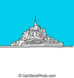 Mt Saint Michel, France, hand-drawn vector drawing, blue...